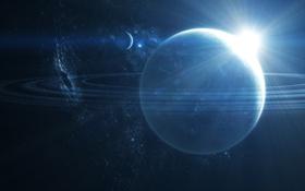 Обои солнце, звезды, восход, планеты