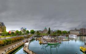 Обои Канада, залив, панорама, дома, Виктория, корабль, Британская Колумбия