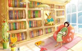 Обои комната, отдых, кресло, библиотека