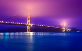 Обои мост, река, вечер, дымка, Golden Gate Bridge, San Francisco, USА