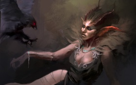 Обои птица, женщина, демон, рога, ворон