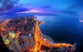 Обои побережье, ночь, здания, море, огни