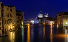 Обои Санта-Мария-делла-Салюте, Венеция, Италия, ночь, канал, собор