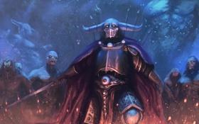 Обои смерть, тьма, меч, воин, шлем, нечисть