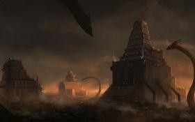 Обои змеи, город, арт, существа, башни, blinck