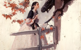 Обои девушка, картина, платье, лошадь.