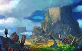 Обои камни, облака, обломки, арт, горы, зелень, человек