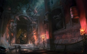 Картинка замок, огонь, доски, череп, монстр, свечи, арт