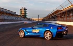 Обои car, трасса, Corvette, Chevrolet, blue, корвет, track