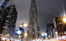 Картинка ночь, огни, Нью-Йорк, выдержка, США, Манхэттен, Утюг