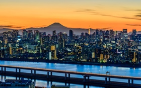 Картинка Япония, пейзаж, дома, Токио, огни, гора