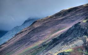 Картинка облака, трава, шотландия, горы, склон, небо