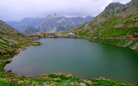 Обои горы, озеро, дом, Швейцария, Вале