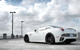 Обои белый, небо, облака, Ferrari, white, феррари, калифорния