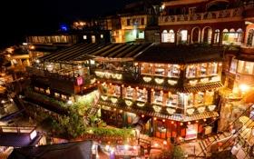 Обои ночь, город, здания, дома, Тайвань, квартал, Taiwan