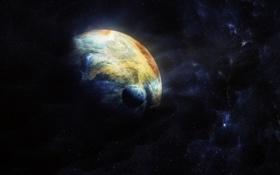 Обои космос, звезды, планета, спутник, цвета