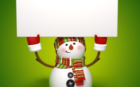 Обои christmas, новый год, cute, snowman, new year, banner, рендеринг