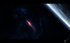 Обои сияние, спутник, титан