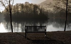 Обои пейзаж, озеро, утро, скамья, France, Rhone-Alpes