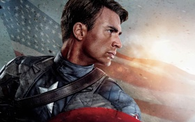 Обои флаг, герой, щит, супергерой, Крис Эванс, Стив Роджерс, Captain America: The First Avenger