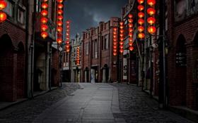Картинка улица, Тайвань, сумерки, светильники