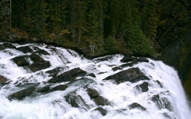 Картинка обои, деревья, водопад, природа, вода, waterfall