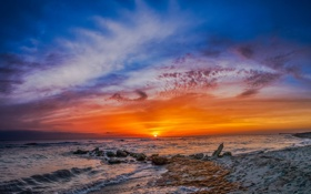 Обои clouds on fire, caspersen beach, florida
