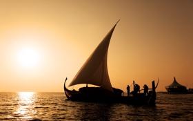 Обои море, солнце, закат, люди, лодка, парус, мальдивы