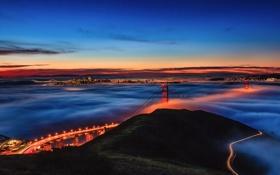 Картинка небо, мост, туман, залив
