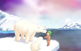 Обои снег, аниме, белый медведь, полюс, умка
