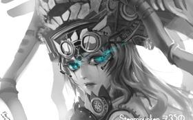 Картинка девушка, арт, стимпанк, шлем, черно-белое, монохромное, kantai collection
