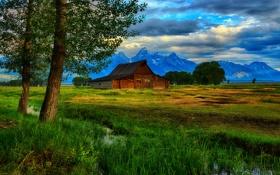 Обои деревья, горы, ручей, хижина, Wyoming, Grand Teton National Park, Thomas Moulton Barn