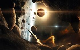 Обои камни, корабли, планеты