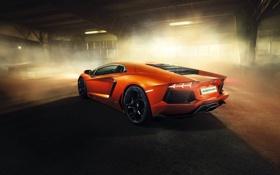 Картинка машина, свет, Lamborghini, ангар, суперкар, Aventador