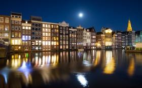 Обои огни, отражение, луна, дома, зеркало, Амстердам, канал