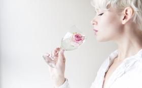 Картинка девушка, бокал, роза
