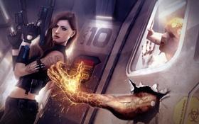 Картинка машина, девушка, оружие, рука, монстр, арт, парень
