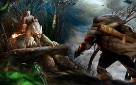 Обои лес, огонь, ветер, меч, властелин колец, арт, гном