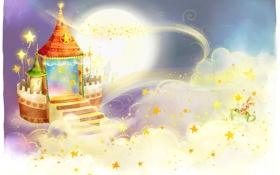 Обои облака, узоры, детские обои, заячик, луна, замок, звёзды