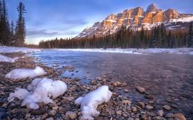 Обои ice, lake, castle mountain, water, rock, snow