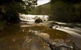 Обои осень, природа, река, водопад