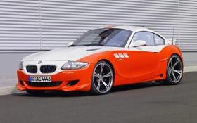 Обои Авто, Белый, BMW, Тюнинг, Оранжевый, Фары, Передок