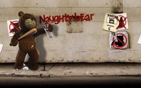 Картинка бита, злой, Naughty Bear, баллончик, листовки, стена, медведь
