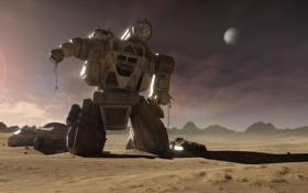 Картинка оружие, пустыня, механизм, планета, робот, дома, арт
