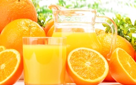 Обои апельсины, апельсиновый сок, кувшин, стакан