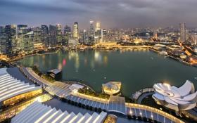 Обои дизайн, огни, остров, здания, дома, вечер, Сингапур
