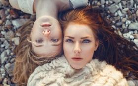 Картинка глаза, девушки, голубые, веснушки, рыжая, шатенка