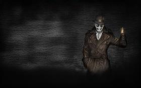 Обои темнота, стена, огонь, спичка, Хранители, Watchmen, Роршах