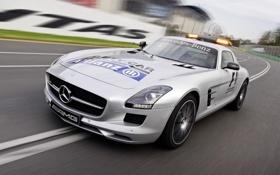 Обои авто, огни, Mercedes-Benz, скорость, AMG, SLS, передок