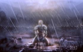 Картинка ночь, дождь, война, армия, воин, поле битвы